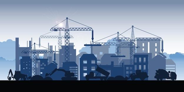 Silhueta de edifícios em construção. processo de construção da área de dormitório de grande edifício. em construção processo de trabalho de construção com máquinas de construção.