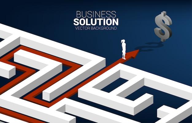 Silhueta de empresária no caminho de rota para sair do labirinto para o ícone do dólar. conceito de missão empresarial e caminho para o lucro da empresa