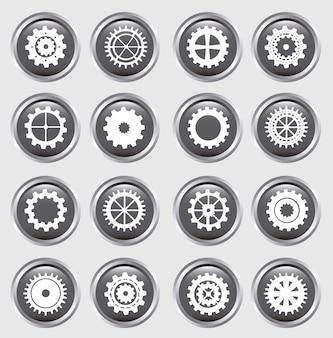 Silhueta de engrenagens sobre ilustração em vetor fundo botões