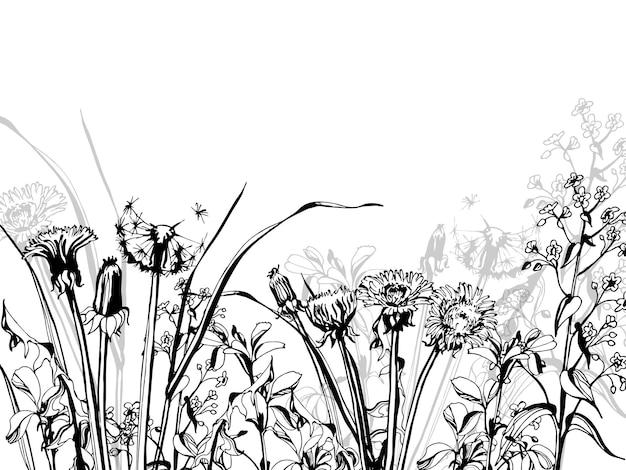 Silhueta de ervas e flores, ilustração vetorial desenhada à mão