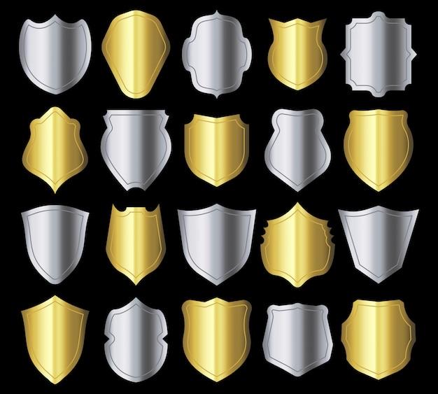 Silhueta de escudo quadro de cristas retrô, emblema de blindagem de segurança de metal prata e conjunto de silhuetas de escudos heráldicos dourados