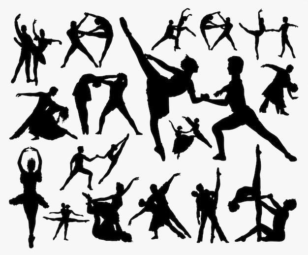 Silhueta de exercício de dança.