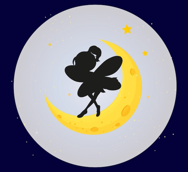 Silhueta de fada na lua