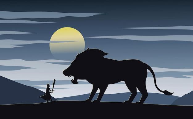 Silhueta de ficção com ilustração de cavaleiro e leão
