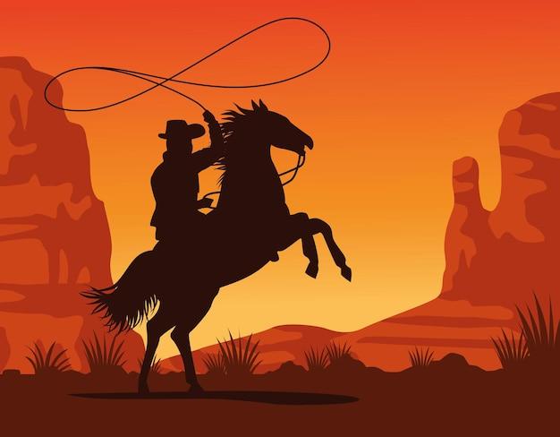 Silhueta de figura de caubói amarrada a cavalo amarrando cena de paisagem de pôr do sol