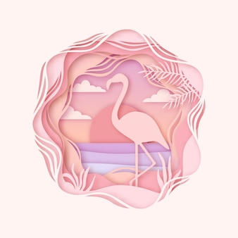 Silhueta de flamingo em estilo origami.