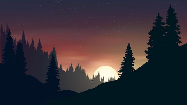 Silhueta de floresta de pinheiros ao luar