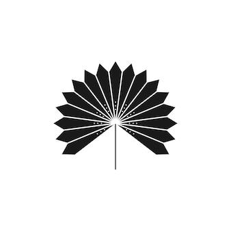 Silhueta de folha de palmeira seca em estilo simples. emblema de boho de folha tropical de vetor. ilustração floral para criar logotipo, padrão, estampas de camisetas, design de tatuagem, postagem em mídia social e histórias