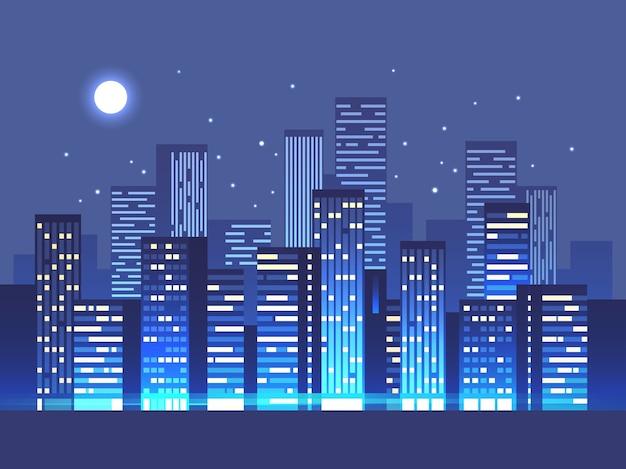 Silhueta de fundo da cidade à noite com estrelas e lua no céu