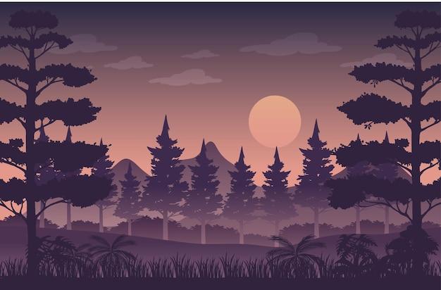 Silhueta de fundo de paisagem de floresta crepuscular