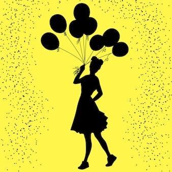 Silhueta de fundo festivo de uma menina com um monte de balões na mão