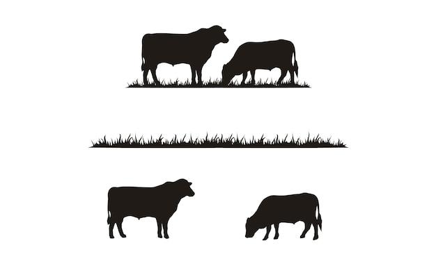 Silhueta de gado e grama