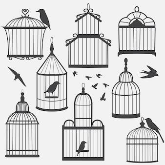 Silhueta de gaiolas de pássaros