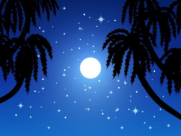 Silhueta de galhos de árvores à noite com lua e estrelas