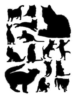 Silhueta de gatos