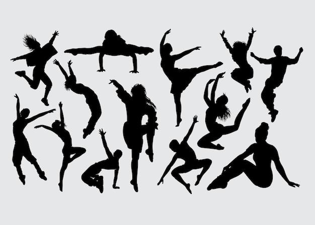 Silhueta de gesto masculino e feminino de dança moderna