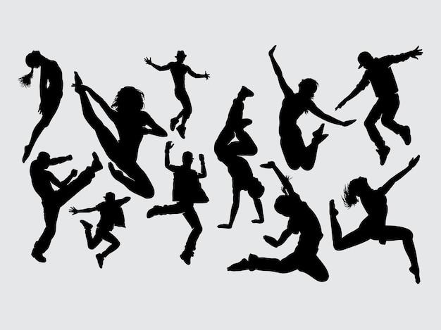 Silhueta de gesto masculino e feminino de dança