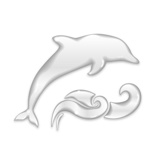 Silhueta de golfinho com gotas de água