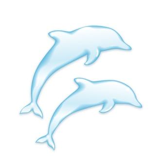 Silhueta de golfinhos de água isolada no branco