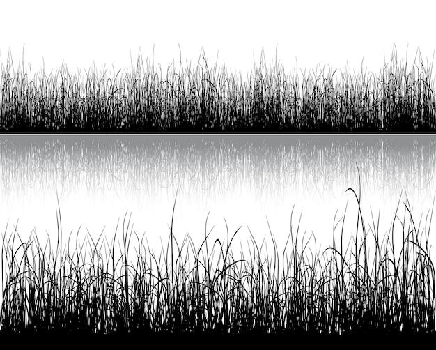 Silhueta de grama isolada em branco