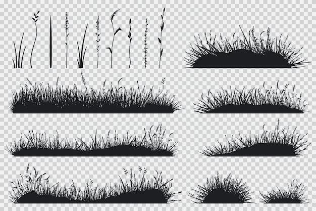 Silhueta de grama preta