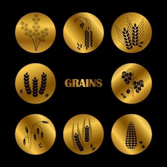 Silhueta de grãos pretos. coleção de cereais