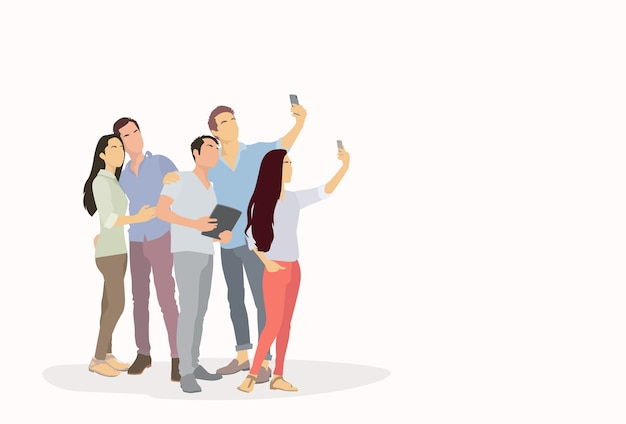 Silhueta de grupo de pessoas tirando foto de selfie no telefone inteligente