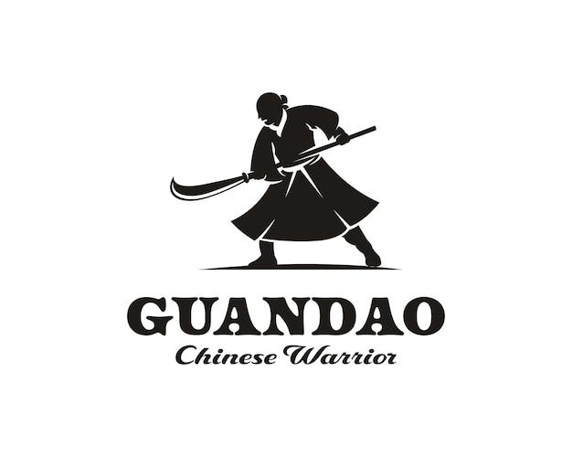 Silhueta de guerreiro chinês segurando modelo de design de logotipo de espada de lança
