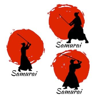 Silhueta de guerreiros samurais japoneses. ilustração vetorial