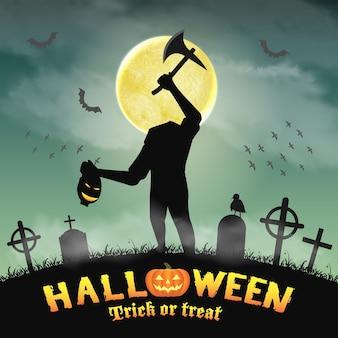Silhueta de halloween monstro sem cabeça no cemitério