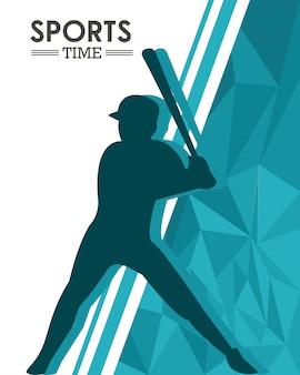 Silhueta de homem atlético praticando beisebol