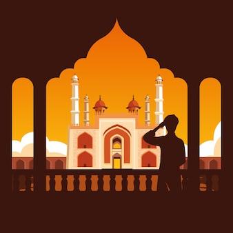 Silhueta de homem com indiano emblemático de portão