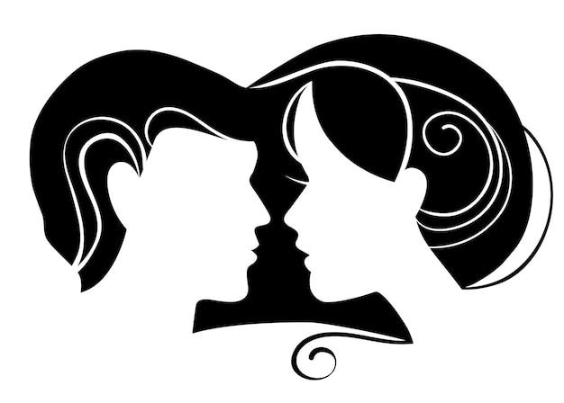 Silhueta de homem e mulher apaixonados