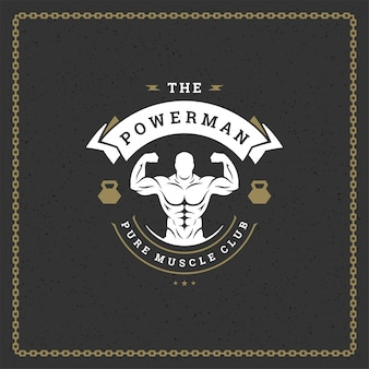 Silhueta de homem fitness ginásio logotipo ou emblema ilustração fisiculturista