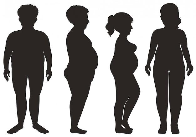 Silhueta de homens e mulheres no fundo branco