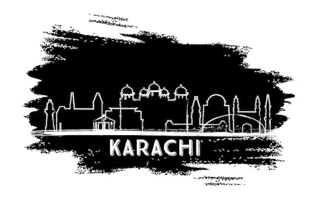 Silhueta de horizonte da cidade de karachi paquistão. esboço desenhado à mão. viagem de negócios e conceito de turismo com arquitetura histórica. ilustração vetorial. paisagem urbana de karachi com pontos turísticos.