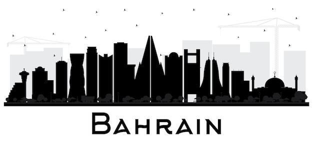 Silhueta de horizonte de cidade de bahrain com edifícios pretos isolados no branco. ilustração vetorial. viagem de negócios e conceito de turismo com arquitetura moderna. paisagem urbana do bahrein com pontos de referência.