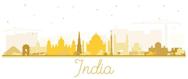 Silhueta de horizonte de cidade de índia com edifícios dourados isolados no branco. délhi. hyderabad. calcutá