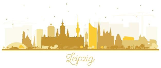Silhueta de horizonte de cidade de leipzig alemanha com edifícios dourados isolados no branco. ilustração vetorial. viagem de negócios e conceito de turismo com arquitetura moderna. paisagem urbana de leipzig com pontos turísticos.