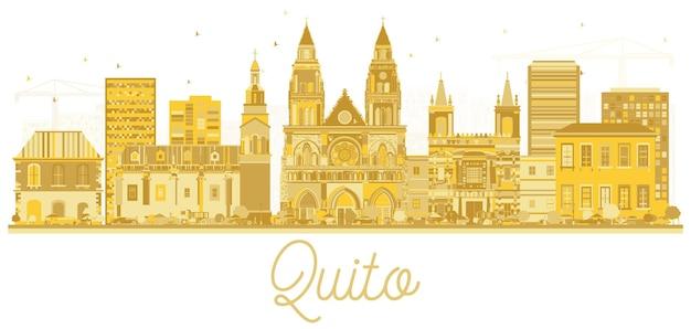 Silhueta de horizonte de cidade de quito equador com edifícios dourados isolados no branco. ilustração vetorial. viagem de negócios e conceito de turismo com arquitetura histórica. paisagem urbana de quito com pontos turísticos.