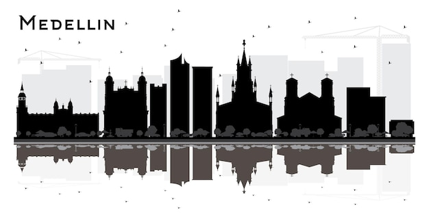 Silhueta de horizonte de cidade medellin colômbia com edifícios pretos e reflexões isoladas em branco. ilustração vetorial. conceito de turismo com arquitetura histórica. medellin cityscape com pontos de referência.