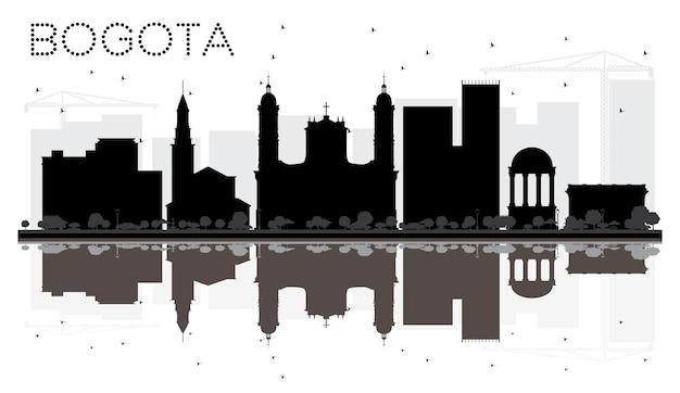 Silhueta de horizonte preto e branco da cidade de bogotá com reflexos. ilustração vetorial. paisagem urbana com monumentos.