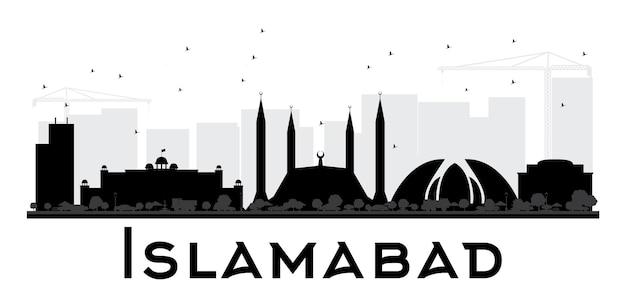 Silhueta de horizonte preto e branco da cidade de islamabad. ilustração vetorial. conceito plano simples para apresentação de turismo, banner, cartaz ou site da web. paisagem urbana com monumentos.