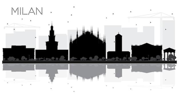 Silhueta de horizonte preto e branco da cidade de milão com reflexos. ilustração vetorial. conceito plano simples para apresentação de turismo, banner, cartaz ou site da web. paisagem urbana com monumentos.