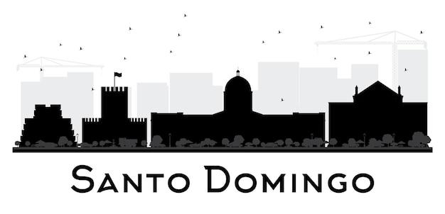 Silhueta de horizonte preto e branco da cidade de santo domingo. ilustração plana simples para apresentação de turismo, banner, cartaz ou site da web. paisagem urbana com monumentos.