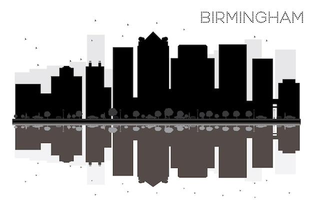Silhueta de horizonte preto e branco de birmingham city com reflexos. ilustração vetorial. conceito plano simples para apresentação de turismo, banner, cartaz ou site da web. paisagem urbana com pontos de referência