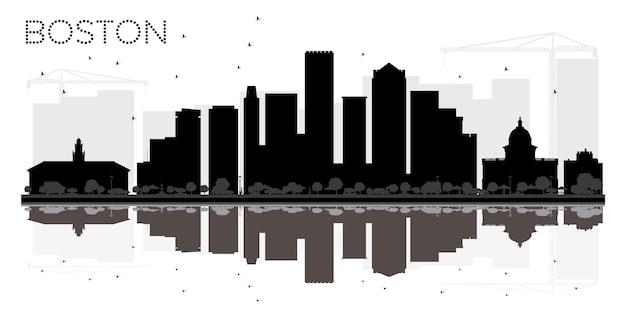 Silhueta de horizonte preto e branco de boston city com reflexos. ilustração vetorial. conceito plano simples para apresentação de turismo, banner, cartaz ou site da web. paisagem urbana com monumentos.