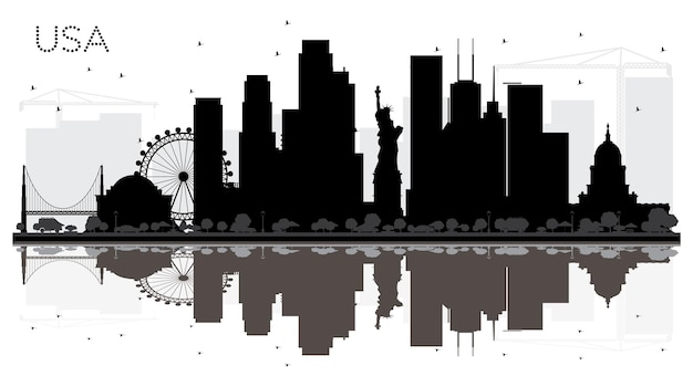 Silhueta de horizonte preto e branco de cidade eua com reflexões. conceito plano simples para apresentação de turismo, banner, cartaz ou site da web. conceito de viagens de negócios. paisagem urbana com monumentos.