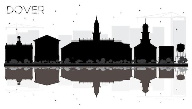 Silhueta de horizonte preto e branco de dover city com reflexos. ilustração vetorial. conceito plano simples para apresentação de turismo, banner, cartaz ou site da web. paisagem urbana com monumentos.