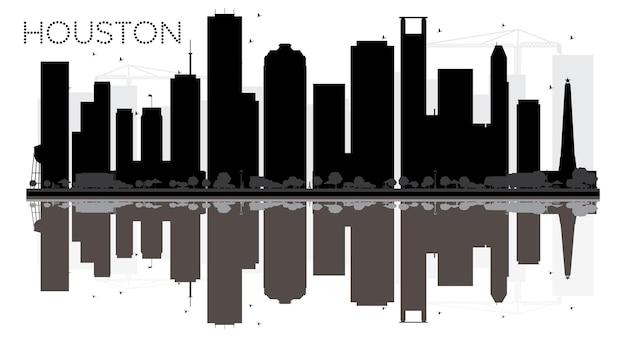 Silhueta de horizonte preto e branco de houston city com reflexos. ilustração vetorial. conceito plano simples para apresentação de turismo, banner, cartaz ou site da web. paisagem urbana com monumentos.